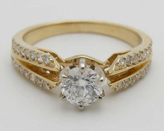 14K Yellow Gold Diamond Engagement Ring Setting Semi Mount Mounting Remount