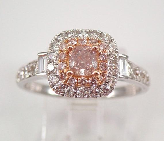 18K White Gold Fancy Pink Cushion Cut Diamond Halo Engagement Ring Size 7
