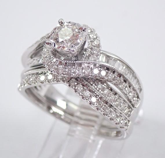 White Gold 1.45 ct Round Brilliant Diamond Engagement Ring Wedding Band Set Size 7