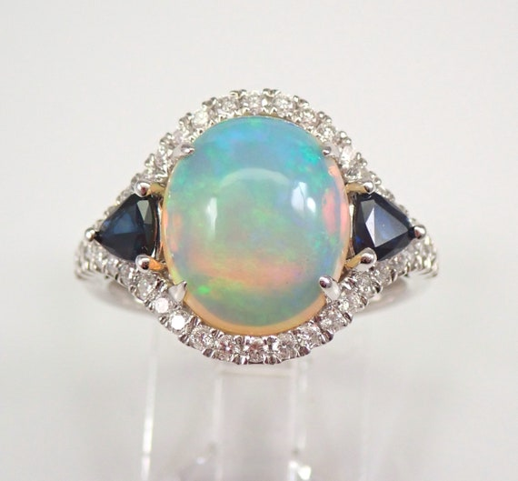 14K White Gold 4.74 ct Opal Diamond and Sapphire Halo Engagement Ring Size 7 October Gem FREE Sizing