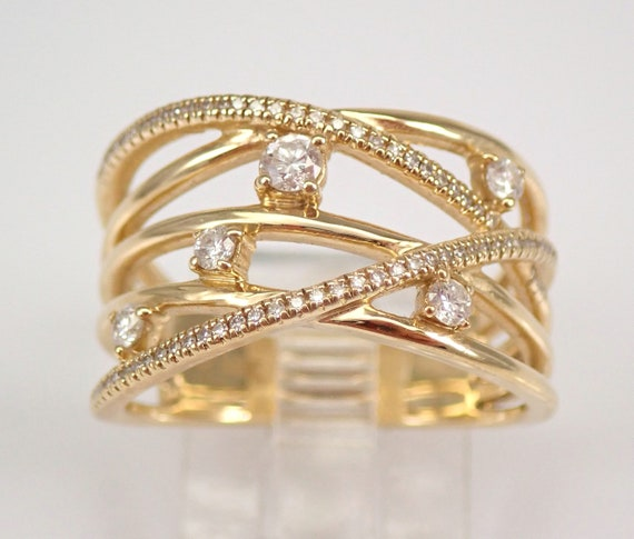 Yellow Gold Diamond Anniversary Ring Multi Row Crossover Wedding Band Size 7 FREE SIZING