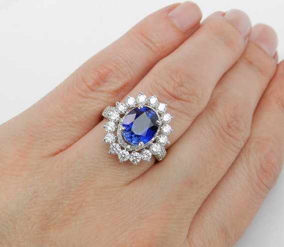 18K White Gold 6.69 ct Diamond and Sapphire Halo Engagement Princess Ring Size 7, Chatham Sapphire Ring
