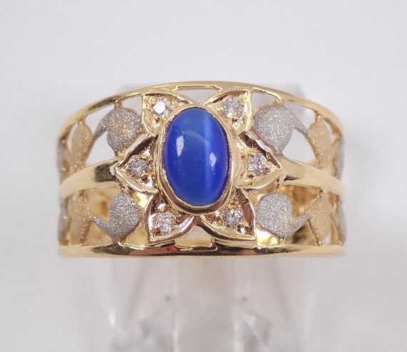 SUPER SALE! Vintage Antique 22K Yellow Gold Lab Blue Star Sapphire and CZ Flower Ring 7