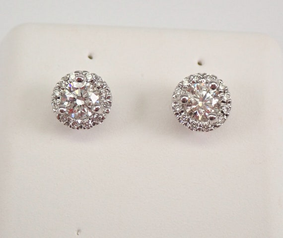 14K White Gold Diamond Stud Earrings Halo Studs PERFECT GIFT .87 carat