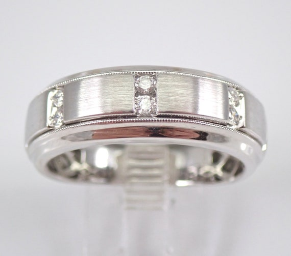 Men's White Gold Diamond Engagement Ring Wedding Anniversary Band Size 10