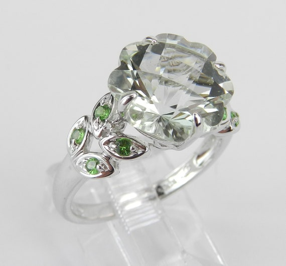 14K White Gold Diamond Green Amethyst Tsavorite Flower Engagement Ring Size 6.75 FREE Sizing