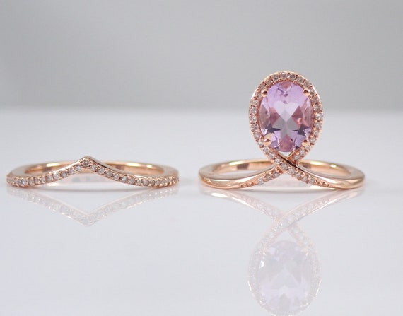 Diamond and Amethyst Halo Engagement Ring Wedding Band Set Rose Gold Size 7 FREE Sizing