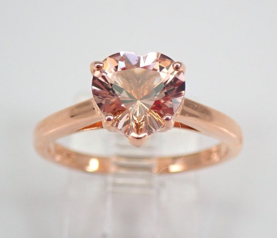 Heart Morganite Solitaire Engagement Ring 14K Rose Gold Size 7 Pink Aquamarine FREE Sizing
