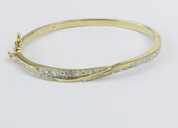 14K Yellow Gold Diamond Bangle Bracelet Great Gift