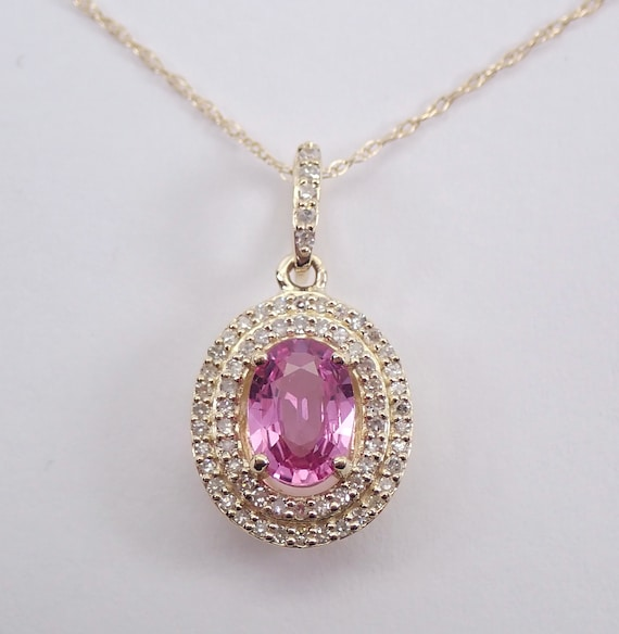 "Diamond and Pink Sapphire Halo Pendant Yellow Gold Necklace 18"" Chain Wedding"