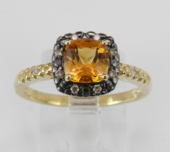 SALE Price! Citrine and Fancy Diamond Halo Engagement Promise Ring Yellow Gold Size 7 November Birthstone FREE Sizing