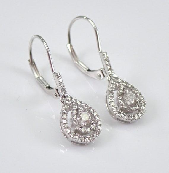 14K White Gold Diamond Drop Teardrop Cluster Earrings Leverback