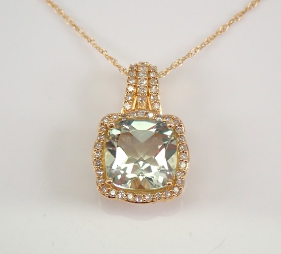"Diamond and Cushion Cut Green Amethyst Halo Pendant Necklace 14K Yellow Gold 18"" Chain"