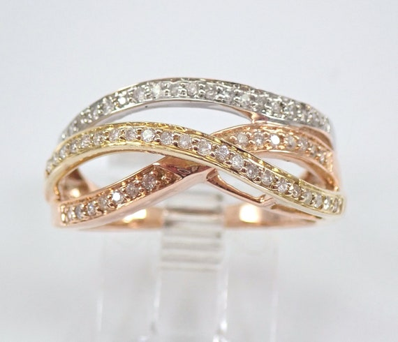 Diamond Wedding Ring Crossover Multi Row Anniversary Band Tri Color Gold Size 7 FREE Sizing