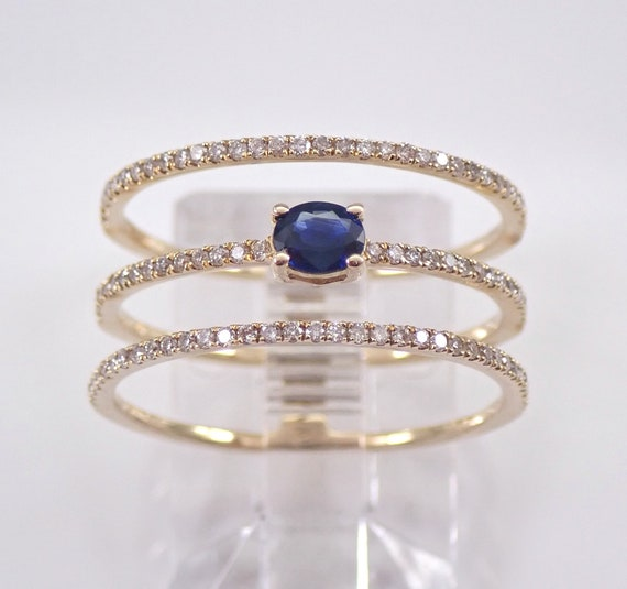 Yellow Gold Diamond and Sapphire Multi Row Band Ring Size 6 1/2 September Birthstone