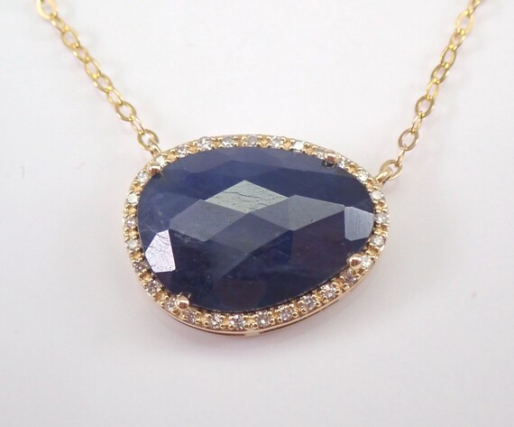 "Yellow Gold 2.70 ct Sapphire Slice and Diamond Halo Pendant Necklace 17"" Chain September Gemstone"
