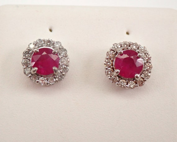 1.25 ct Ruby and Diamond Stud Earrings Halo Studs White Gold July Gemstone