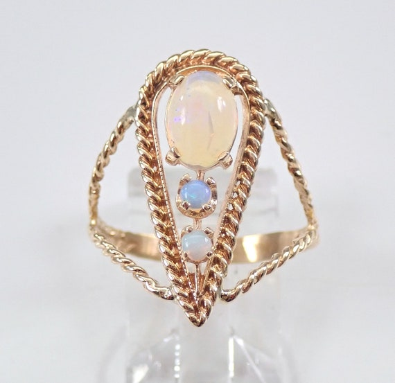Vintage Antique Retro 14K Yellow Gold Opal Statement Ring Size 8 October Gemstone