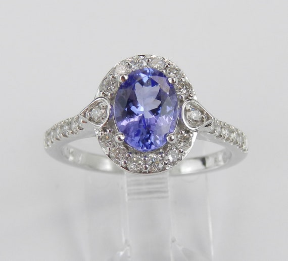 Tanzanite Ring, 14K White Gold Engagement Ring, Diamond and Tanzanite Halo Ring, Tanzanite Engagement Ring, Bridal Jewelry