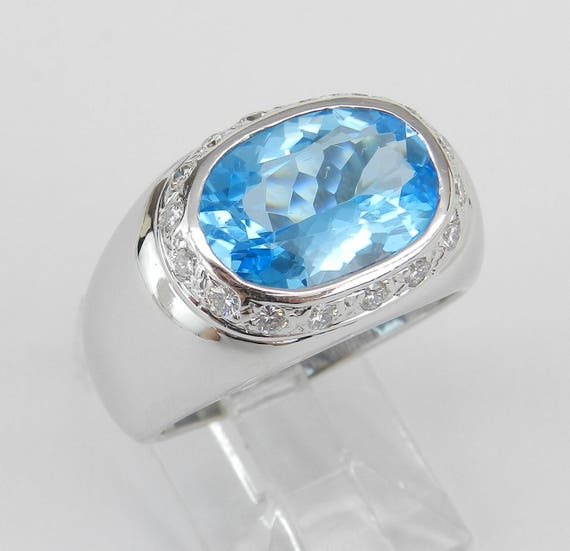 Blue Topaz and Diamond Ring, 18K White Gold Ring, Halo Diamond Ring, East West Gemstone Ring, December Birthstone