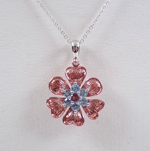"14K White and Rose Gold Blue Topaz and Pink Tourmaline Flower Necklace Pendant 18"" Chain"