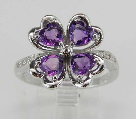 Amethyst an Diamond Ring, Heart Amethyst in Clover Design with Diamond Cocktail Ring in White Gold Size 8 February Gem