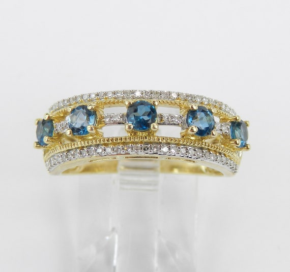 Yellow Gold Diamond and London Blue Topaz Wedding Ring Anniversary Band Size 7