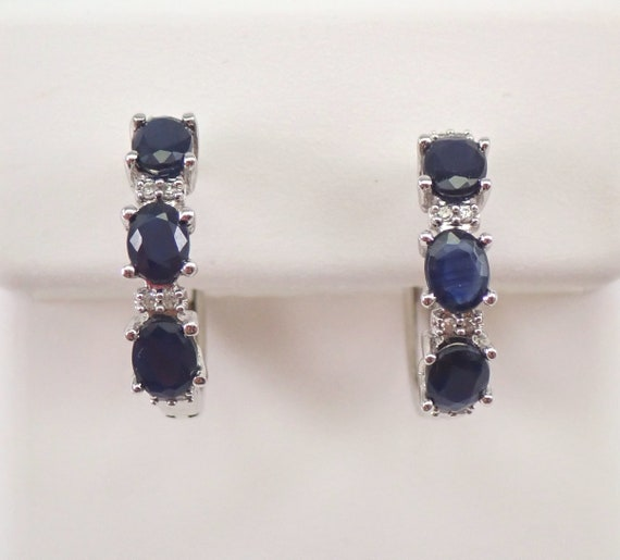 White Gold Diamond and Sapphire Hoop Earrings Hoops September Gemstone Graduation Gift