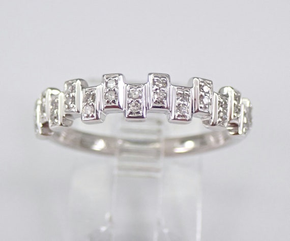 White Gold Diamond Wedding Ring Anniversary Band Sizable Size 7 Stackable