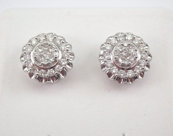 14K White Gold Diamond Studs Cluster Halo Stud Earrings 1/2 ct FREE SHIPPING