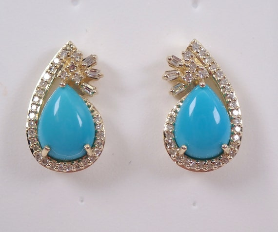 Yellow Gold Diamond and Turquoise Drop Earrings Stud Earring Teal Color