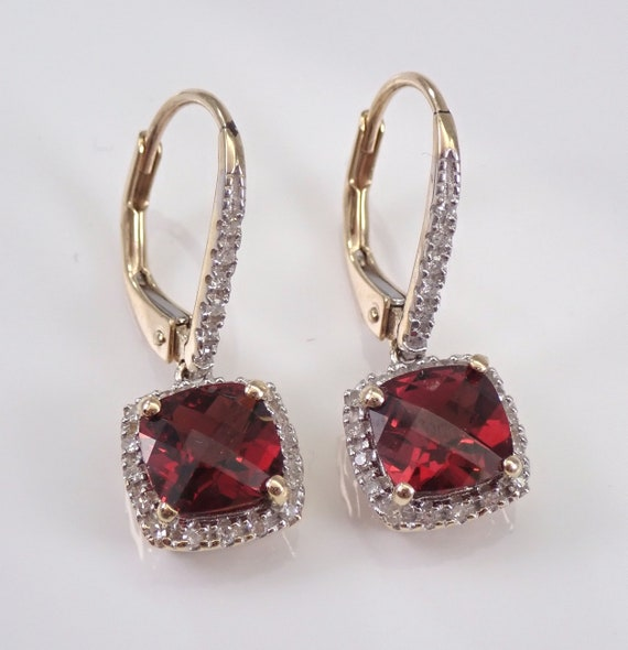 Yellow Gold Mozambique Garnet and Diamond Halo Dangle Drop Earrings Leverback January Birthstone