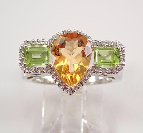 14K White Gold Three Stone Citrine Peridot Diamond Engagement Ring Size 7