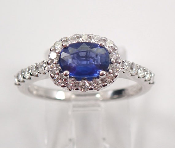 18K White Gold Diamond and Sapphire Halo Engagement Ring Size 6.75 September Gemstone Low Setting FREE Sizing