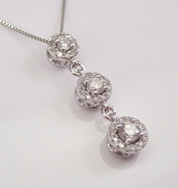 "White Gold Diamond Halo 3-Stone Pendant Necklace 18"" Chain Past Present Future"