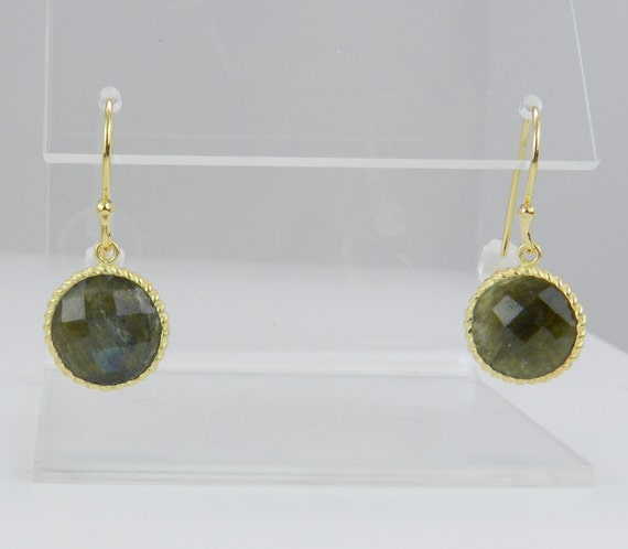 REDUCED 18K Yellow Gold over Sterling Silver Labradorite Dangle Drop Earrings The Stone of Magic