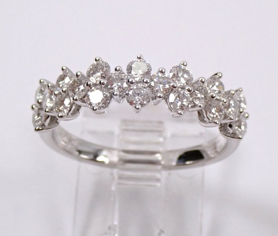 14K White Gold 1.00 ct Diamond Wedding Ring Anniversary Band Stackable Size 7