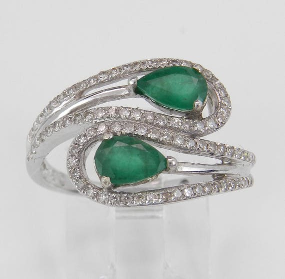 14K White Gold Diamond and Emerald Cocktail Bypass Gemstone Ring Size 7 May Gem FREE Sizing