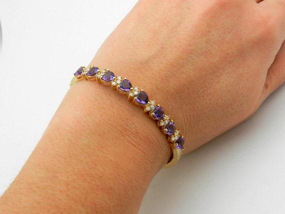 Amethyst and Diamond Bangle Bracelet, Heart Amethyst Bangle Bracelet, 14K Yellow Gold Bangle, Amethyst Bracelet
