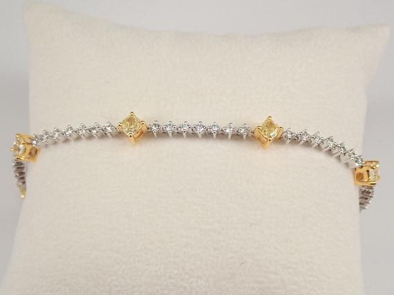 "14K White Gold 3.29 ct Cushion Cut Canary Diamond Tennis Bracelet 7.5"" MUST SEE"