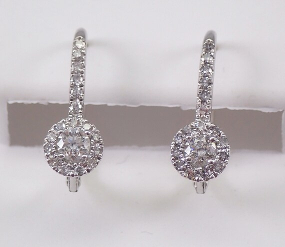 14K White Gold 1/2 ct Diamond Cluster Halo Drop Earrings Leverback Wedding Gift