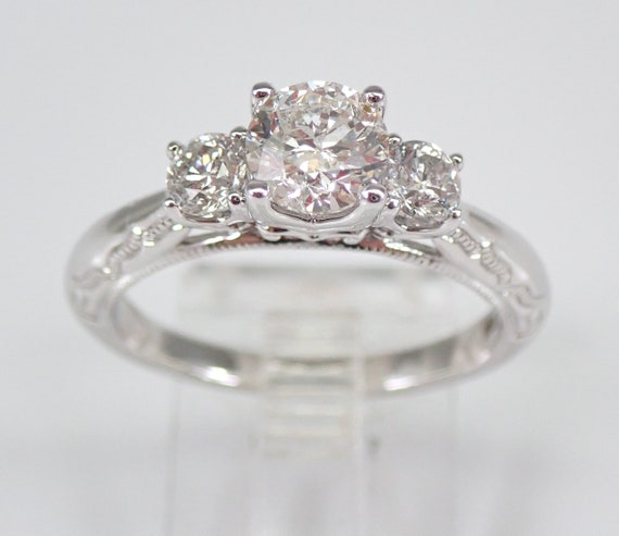 14K White Gold 1.00 ct Three Stone Diamond Engagement Ring Size 7 Hand Engraved FREE SIZING