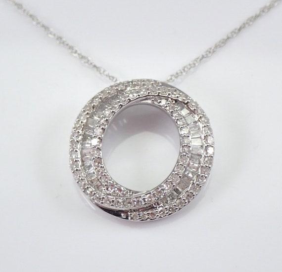 "Diamond Necklace Circle of Life Pendant 14K White Gold Modern Wedding Jewelry Gift Chain 18"""