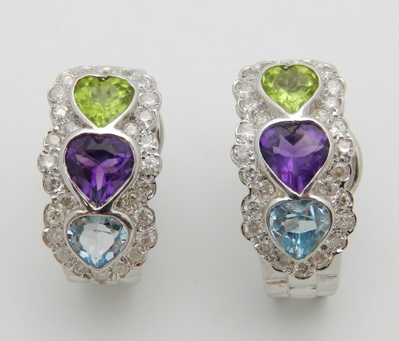 Heart Amethyst Peridot Blue Topaz Diamond Three Stone Earrings 14K White Gold