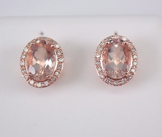 Morganite and Diamond Halo Stud Earrings Pink Aqua Rose Gold Studs