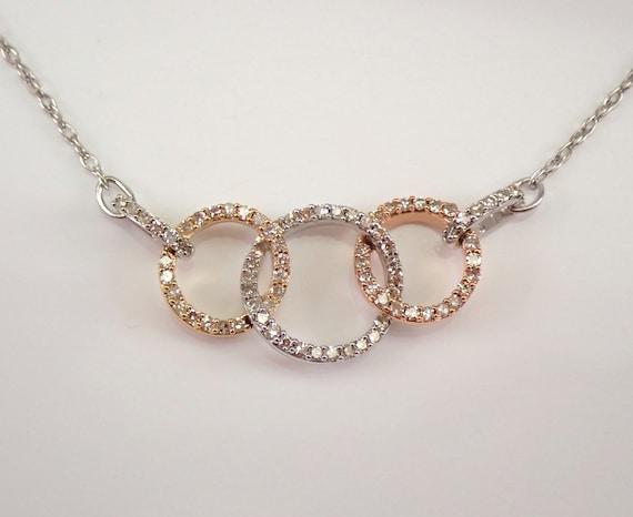 "Diamond Circle Necklace Pendant Rose, Yellow and White Gold Interlocking Necklace Chain 17"" Modern"