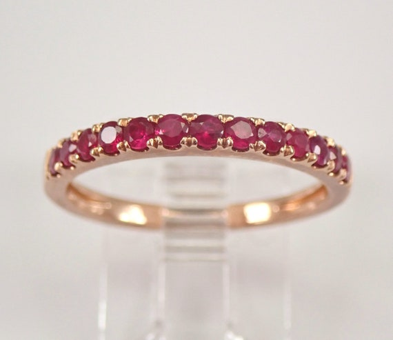 Ruby Wedding Ring Anniversary Band Stackable Rose Gold Size 7.25 July Gemstone