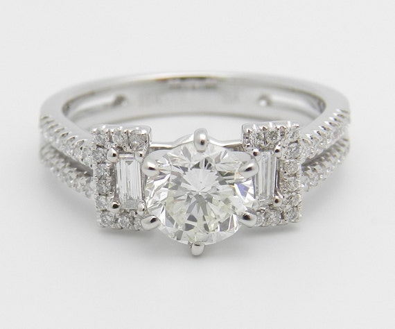Diamond Engagement Ring 18K White Gold 1.40 ct Brilliant Natural Genuine Diamond Engagement Ring