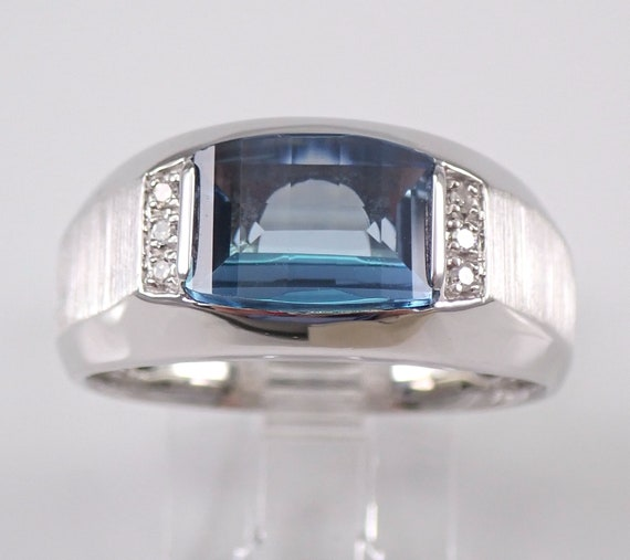 Mens Blue Topaz and Diamond Pinky Ring Anniversary Engagement White Gold Size 10