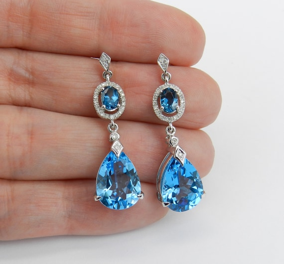 7.85 ct Blue Topaz and Diamond Dangle Drop Earrings White Gold Wedding Earrings